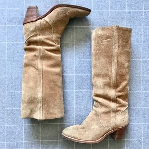 FRYE RENEE TALL BOOTS SUEDE LEATHER - CASHEW BEIGE